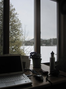 my work space at the Lake Placid Public Library